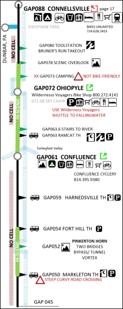 GAP C&O Trails map from Pittsburgh to DC